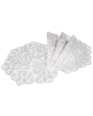 """Xia Home Fashions Antebella Lace Embroidered Cutwork Round Placemats, 15"""" Round, Set of 4"""