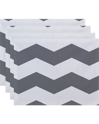 Set of 4 Gray Chevron Placemats - E by Design