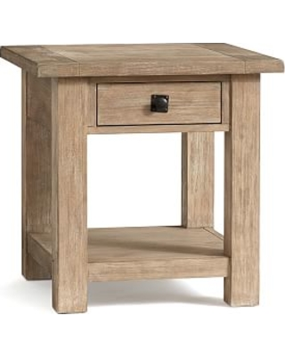 Benchwright Square Wood End Table with Drawer, Seadrift