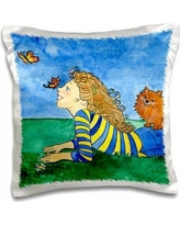 East Urban Home Olmead Dog Pomeranian Butterflies Girl Happy Field Whimsical Watercolor Sky Throw Pillow CoverPolyester/Polyester blend in Blue/Green