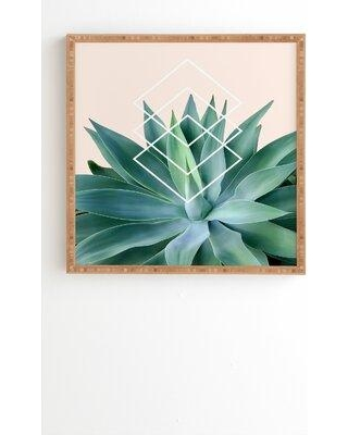 """Society6 'Agave Geometrics Peach' Graphic Art Print 67845- Size: 20"""" H x 20"""" W x 2"""" D Format: Bamboo Framed Matte Color: No Matte"""