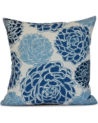 E BY DESIGN 16 in. Olivia Floral Print Pillow in Blue