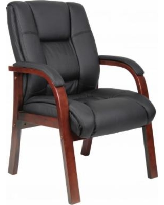 Boss Office Products B8999-C Mid Back Wood Finished Guest Chairs