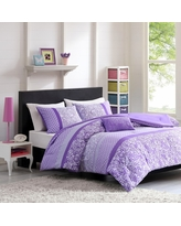 Angela 4 Piece Comforter Set - Purple (Full/Queen)