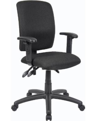 Boss Office Products B3036-BK Multi-Function Fabric Task Chair w/ Adjustable Arms