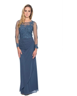 Decode 1.8 - 183577 Jersey Knit Dress with Floral Lace Applique