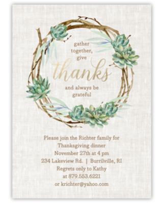 Personalized Thanksgiving Invite - Wreath - 5 x 7 Flat