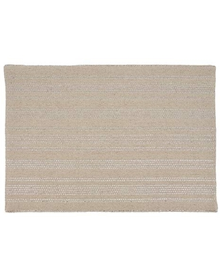 "SARO LIFESTYLE Thea Collection Shimmer Line Design Placemats (Set of 4), 14""x20"", Natural"