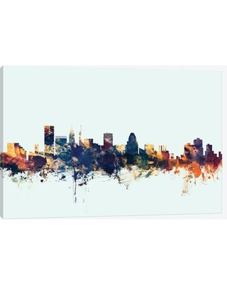"""East Urban Home Skyline Series: Baltimore Maryland USA on Blue Painting Print on Wrapped Canvas USSC7882 Size: 40"""" H x 60"""" W x 1.5"""" D"""