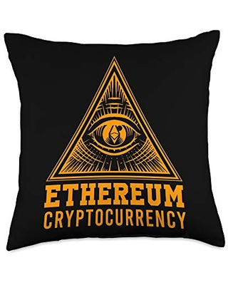 Coin Blockchain Currency Wallet Investment Trader Ethereum All Seeing Eye Pyramid Cryptocurrency Money Gift Throw Pillow, 18x18, Multicolor