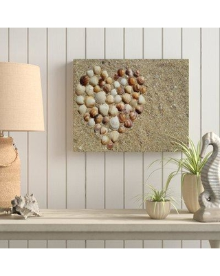 "Highland Dunes 'Sea Shell of Heart' Photographic Print on Wrapped Canvas BI040160 Size: 18"" H x 24"" W x 2"" D"