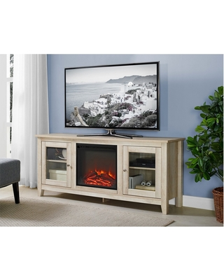 New Savings On 58 Wood Media Tv Stand Console With Fireplace
