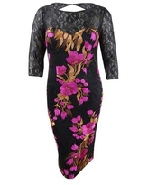 JS Collections Women's Embroidered Lace Sheath Dress (12, Magenta Multi)