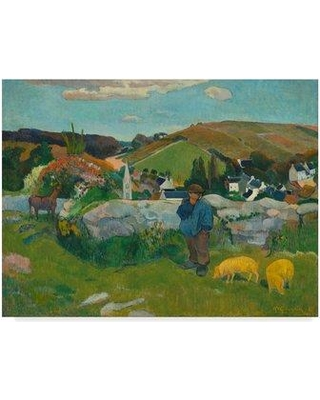 """Trademark Art 'The Swineherd' Oil Painting Print on Wrapped Canvas BL02136-CGG Size: 18"""" H x 24"""" W x 2"""" D"""