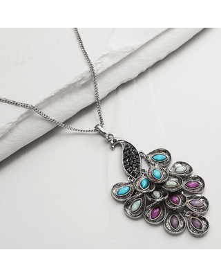 Silver Peacock Pendant Necklace by World Market