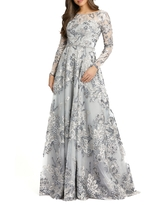 Women's MAC Duggal Floral Long Sleeve A-Line Gown, Size 8 - Grey