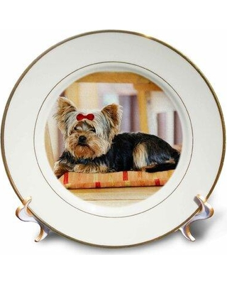 East Urban Home Yorkie. Yorkshire Terrier. Cute Puppy with Bow. Playful Dog Porcelain Decorative Plate W000811526