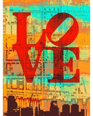 """Buy Art For Less 'Global Chic LOVE City' by Brandi Fitzgerald Framed Graphic Art Print on Wrapped Canvas CAN BF2323 GW Size: 16"""" H x 12"""" W x 1.5"""" D"""