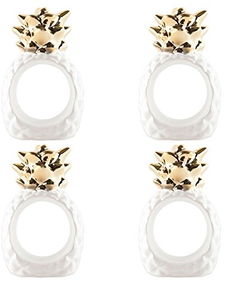 DII Ceramic Napkin Rings for Summer Fun, Wedding Receptions, Hawaiian BBQ Parties, or Everyday Use - Gold Pineapple, Set of 4
