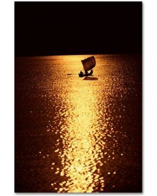 """Trademark Fine Art 'Boats' Photographic Print on Wrapped Canvas ALI19154-C Size: 19"""" H x 12"""" W"""