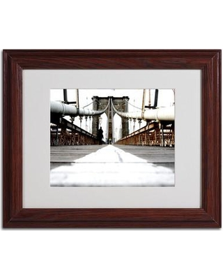 "Trademark Art 'Brooklyn Bridge' by Yale Gurney Framed Photographic Print YG5931 Size: 11"" H x 14"" W x 0.5"" D Frame Color: Brown"