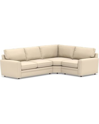 Pearce Square Arm Upholstered Left Arm 3-Piece Wedge Sectional, Down Blend Wrapped Cushions, Performance Everydayvelvet(TM) Buckwheat