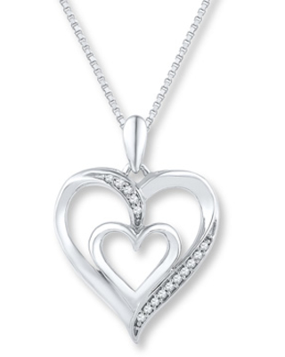 Hot Sale Diamond Heart Necklace 1 20 Ct Tw Round Cut Sterling Silver