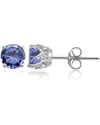 Tanzanite and White Topaz Sterling Silver Crown Stud Earrings