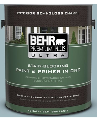 BEHR Premium Plus Ultra 1 gal. #bic-23 Hopeful Blue Semi-Gloss Enamel Exterior Paint and Primer in One