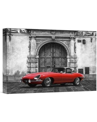 """East Urban Home 'Roadster in Front of Classic Palace' Oil Painting Print URBR6446 Size: 11.36"""" H x 16"""" W Matte Color: No Matte Format: Unframed/Canvas"""