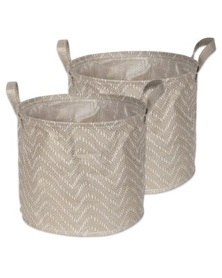 DII Round Coated Tribal Chevron Laundry Bins (Set of 2) (Small - Stone Brown/Cream)