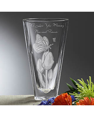 Personalized Crystal Vase - Springtime Moments