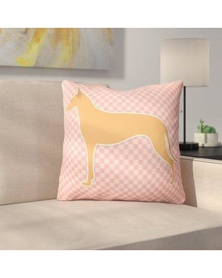 """East Urban Home Pharaoh Hound Square Indoor/Outdoor Throw Pillow FBBT5105 Size: 18"""" H x 18"""" W x 3"""" D Color: Pink"""