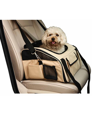 The Pet Life Ultra-Lock' Collapsible Safety Travel Wire Folding Pet Car Seat Carrier, One Size , Beige