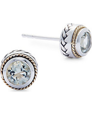 Green Amethyst, 18K Yellow Gold and Sterling Silver Stud Earrings