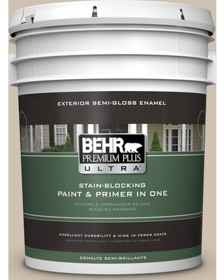 BEHR ULTRA 5 gal. Home Decorators Collection #HDC-NT-13 Merino Wool Semi-Gloss Enamel Exterior Paint & Primer