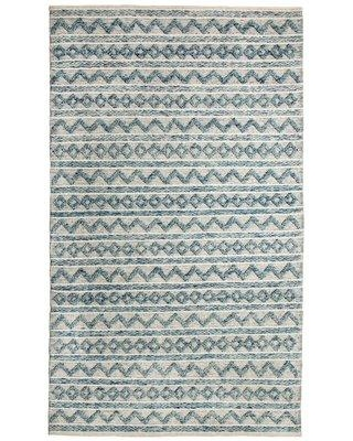 World Menagerie Edwa Oriental Hand-Knotted Wool Teal/Ivory Area Rug, Wool in Ivory/Cream, Size Rectangle 5' x 8' | Wayfair