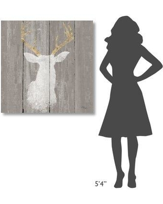 "East Urban Home 'Precious Antlers I on Gray Wood' Print on Wrapped Canvas EUNM5826 Size: 36"" H x 36"" W"