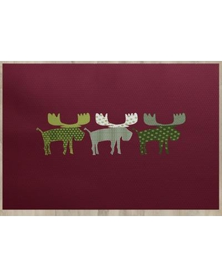 The Holiday Aisle Reindeer Red Indoor/Outdoor Area Rug THLA6888 Rug Size: Rectangle 2' x 3'