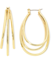 Liz Claiborne Gold-Tone Layered Oval Hoop Earrings, One Size , Yellow