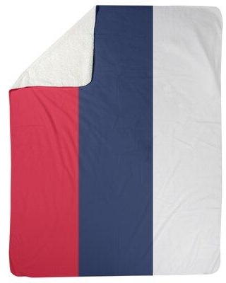 """East Urban Home Cleveland Baseball Fleece Throw FCOL8940 Size: 60"""" W x 80"""" L Color: Red/Navy Blue/White"""