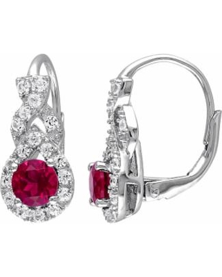 45965a1ad73 Stella Grace Lab-Created Ruby   Lab-Created White Sapphire Sterling Silver  Twist Drop