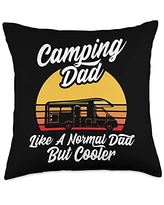 Funny Camping Sayings & Designs Camping Like A Normal Dad But Cooler RV Holiday Camper Throw Pillow, 18x18, Multicolor