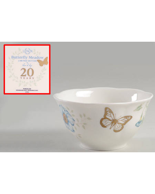 Lenox Butterfly Meadow Rice Bowl w/Gold Butterfly & 20th Anniversary Bkst