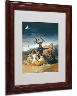 """Trademark Fine Art 'The Witches' Framed Painting Print on Canvas BL01453 Size: 14"""" H x 11"""" W x 0.5"""" D Frame Color: Brown"""