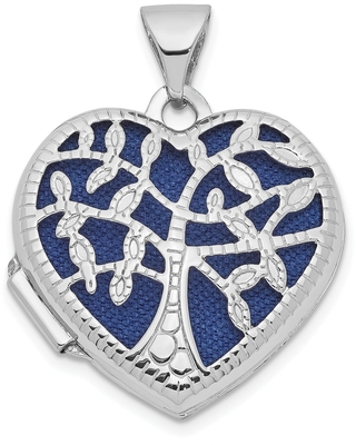14K White Gold 18mm Heart with Tree Locket with 18-inch Cable Chain by Versil (White - 18 Inch)
