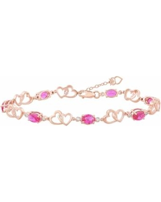 14k Rose Gold Over Silver Lab-Created Ruby Heart Link Bracelet, Women's, Red