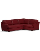 Townsend Square Arm Leather Left Arm 3-Piece Corner Sectional, Polyester Wrapped Cushions, Leather Signature Berry Red