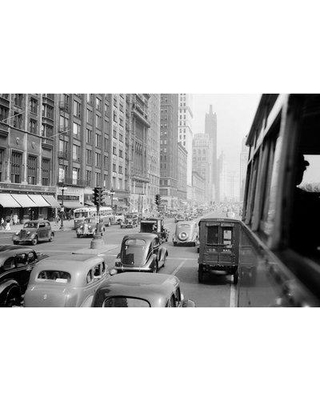 """East Urban Home '1930s Morning Traffic on Michigan Avenue Chicago Illinois USA' Photographic Print on Wrapped Canvas ERNI3884 Size: 12"""" H x 18"""" W x 1.5"""" D"""