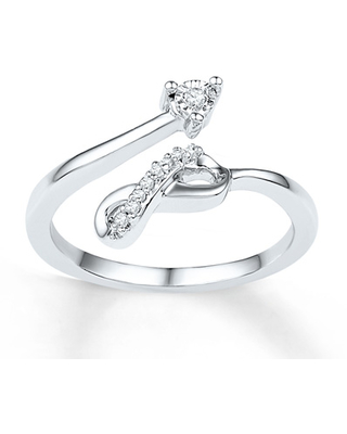 Infinity Midi Ring Diamond Accents Sterling Silver
